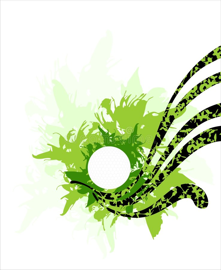 Grüner Blumenhintergrund mit Golfball stock abbildung