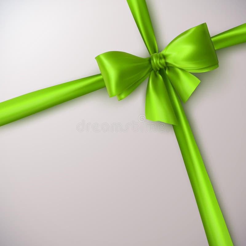 Grüner Bogen und Farbband stock abbildung