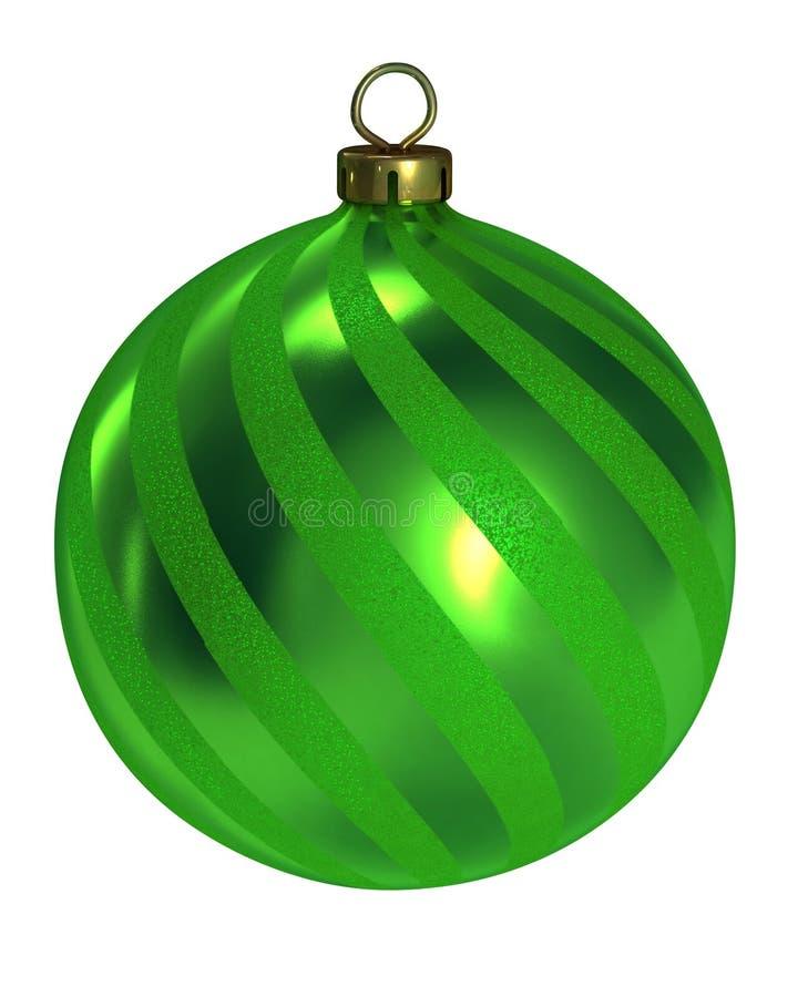 Grüner Dekorweihnachtskugel-Ausschnittspfad stock abbildung
