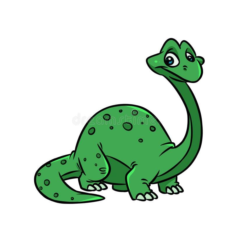 Grüner Dinosaurier Diplodocuskarikaturillustration stock abbildung