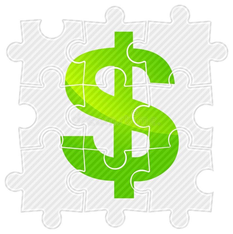 Grüner Dollar auf Puzzlespiel lizenzfreie abbildung