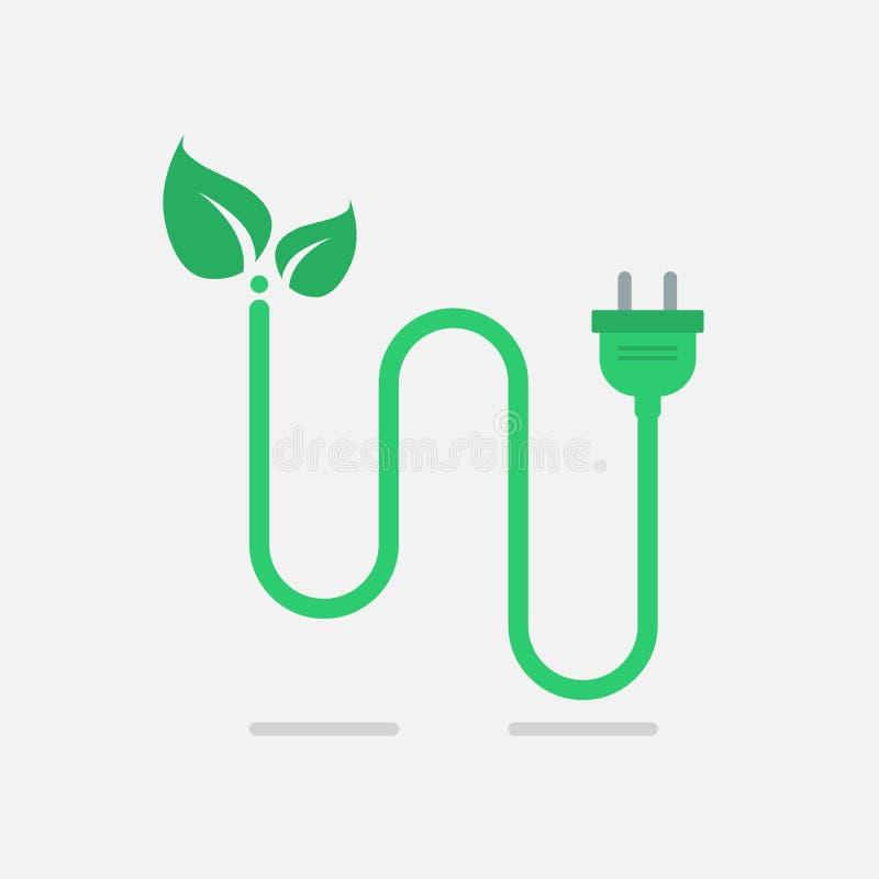 Grüner eco Netzstecker lizenzfreie abbildung