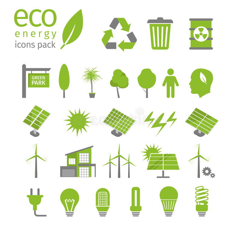 Grüner Energie- und Ökologieikonensatz Auch im corel abgehobenen Betrag stock abbildung