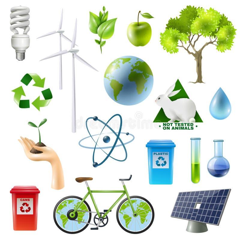 Grüner Energie-Zeichen-Satz stock abbildung