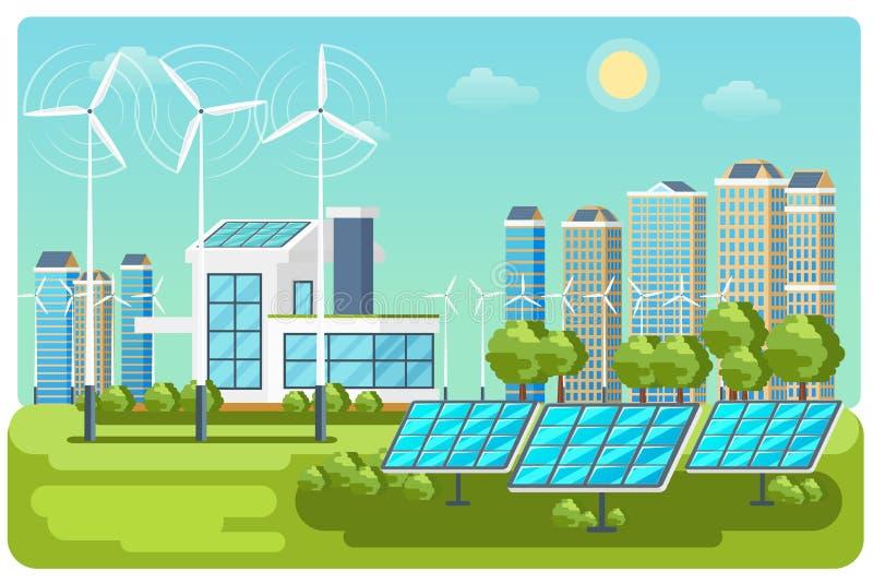 Grüner Energiestadtlandschaftsvektor vektor abbildung