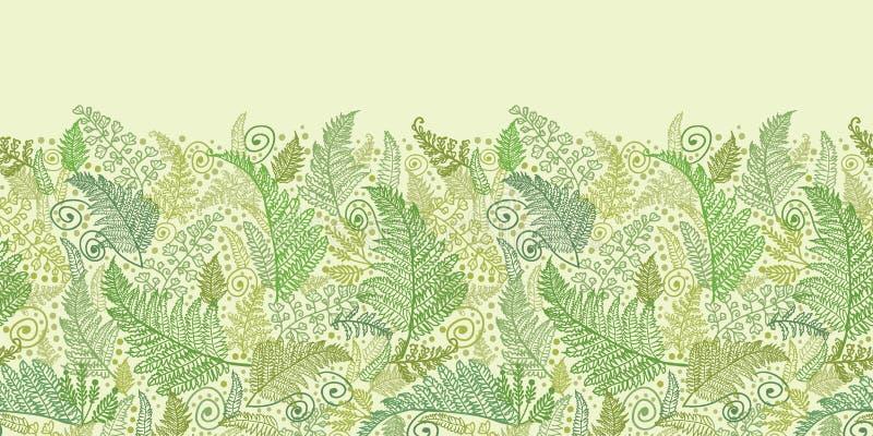 Grüner Fern Leaves Horizontal Seamless Pattern vektor abbildung