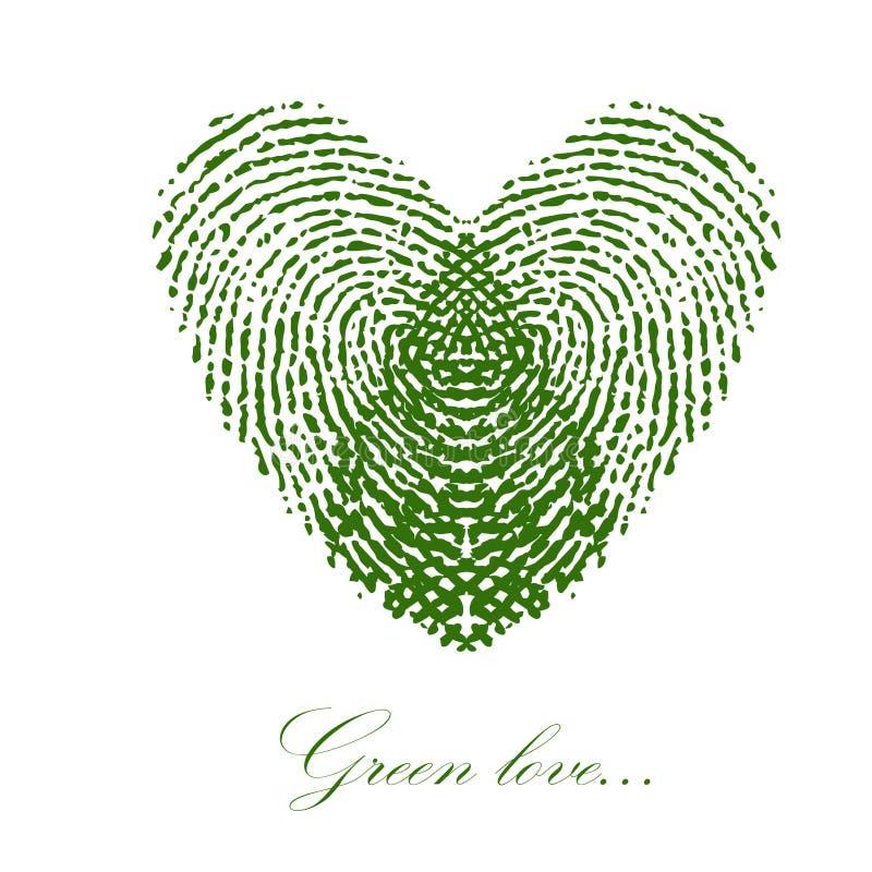 Grüner Fingerabdruck mit Herzen auf einem weißen Hintergrund Vektor lizenzfreie abbildung
