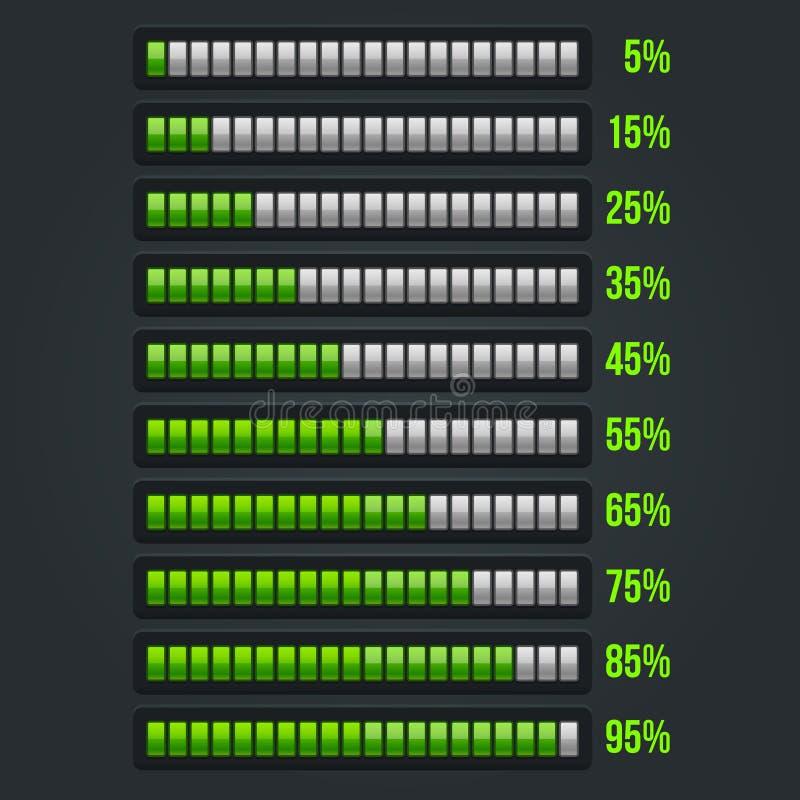 Grüner Fortschritts-Stangen-Satz 5-95% lizenzfreie abbildung