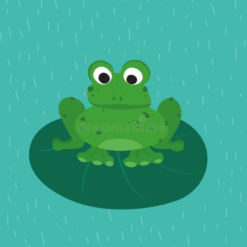 Grüner Frosch auf dem grünen Blatt Lustiges Tier für Kinder Hundekopf mit einem netten glücklichen und unverschämten Lächeln getr vektor abbildung