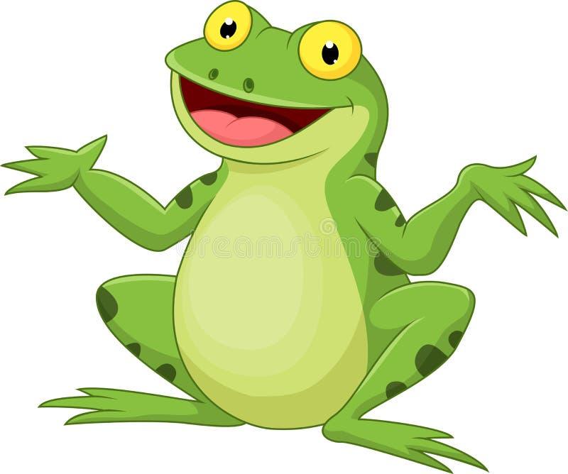 Grüner Frosch der lustigen Karikatur lizenzfreie abbildung