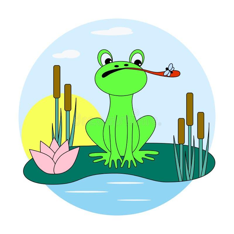 Grüner Frosch fängt eine Fliege auf dem Teich stock abbildung