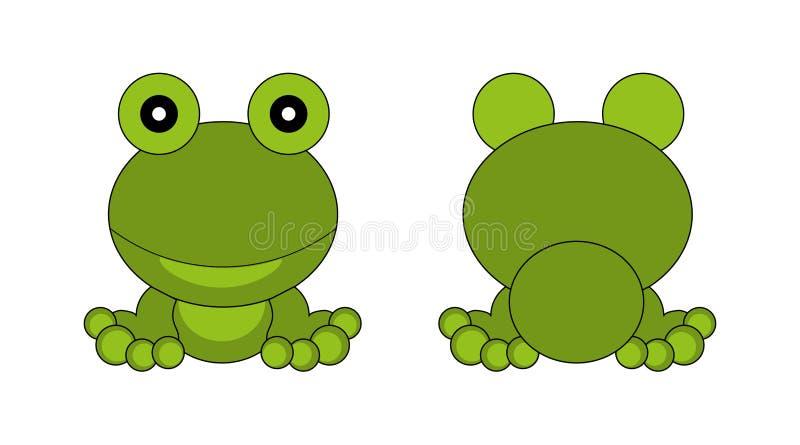 Grüner Frosch Frontansicht und Rückseite lizenzfreie abbildung