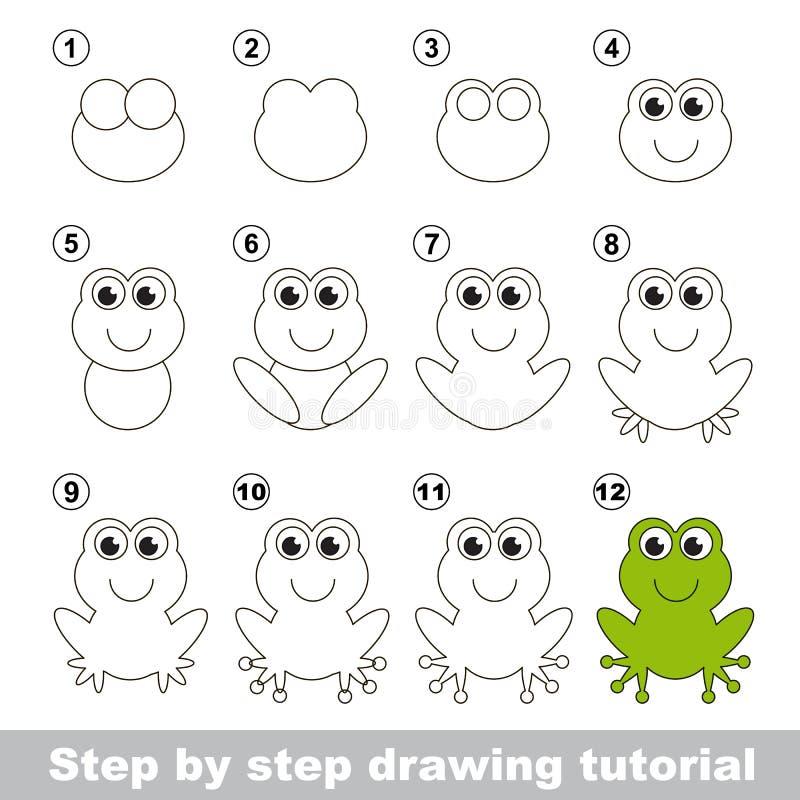 Grüner Frosch Zeichnendes Tutorium lizenzfreie abbildung