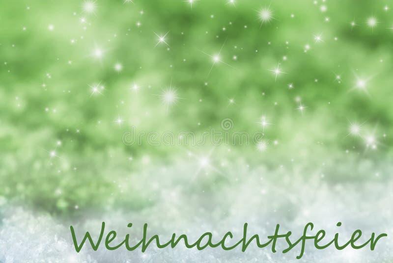 Grüner funkelnder Hintergrund, Schnee, Weihnachtsfeier bedeutet Weihnachtsfest stockfotografie