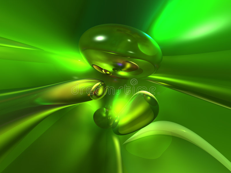grüner gelber heller abstrakter Glashintergrund 3D lizenzfreie abbildung