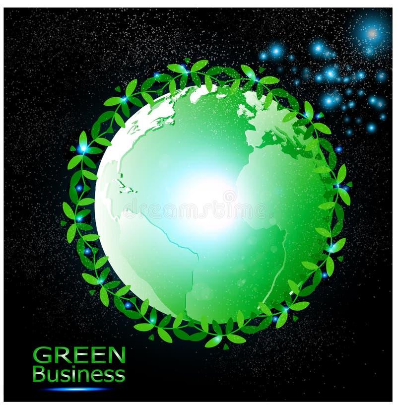 Grüner Geschäfts-Hintergrund-Vektor +Ecology-Grünwelt stock abbildung