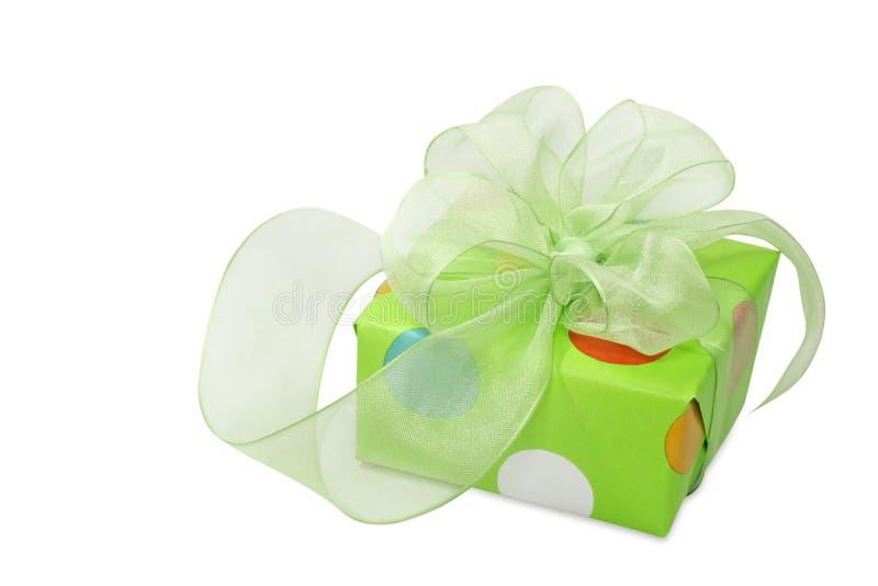 Grüner Geschenkkasten stockbild