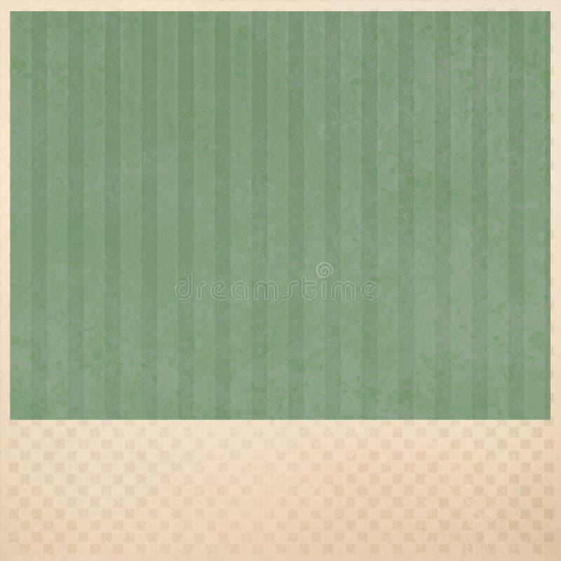 Grüner gestreifter Hintergrund auf beige kariertem Musterhintergrundplan stockfotografie