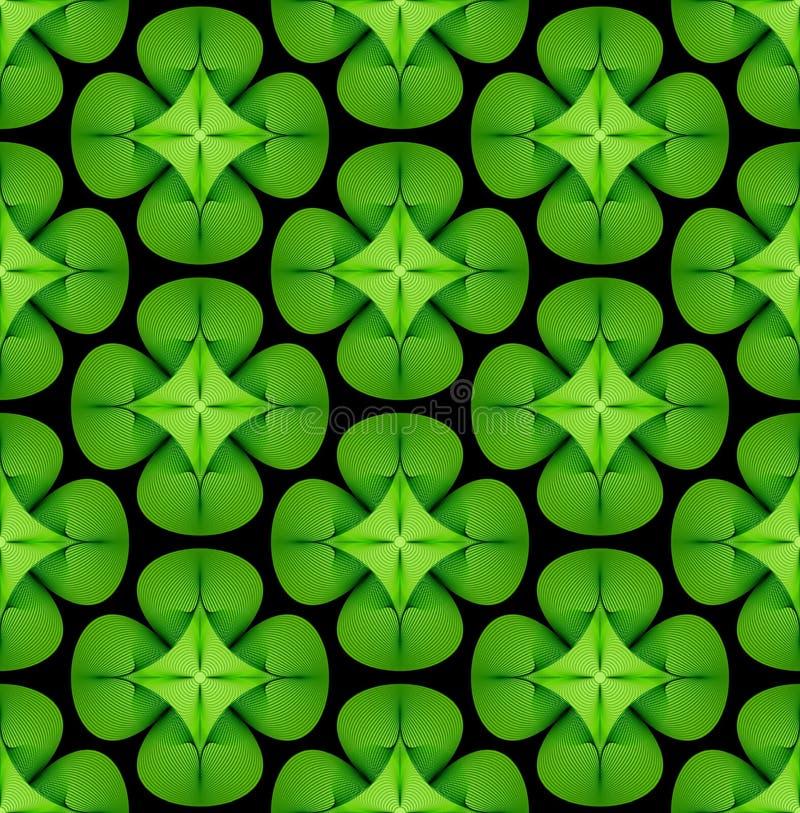 Grüner glücklicher Klee verlässt Hintergrund Nahtloses vektormuster lizenzfreie abbildung