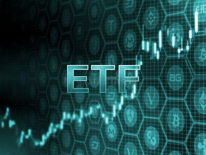 Grüner glühender Text auf Kerzenhalterdiagramm mit bitcoin und Alt-Münzenhintergrund Sek-Entscheidung, die ETF-Kapital genehmigt vektor abbildung