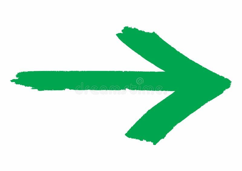 Grüner grungy PfeilWegweiser gemalt mit Handbürste über weißem transparentem Hintergrund lizenzfreie abbildung