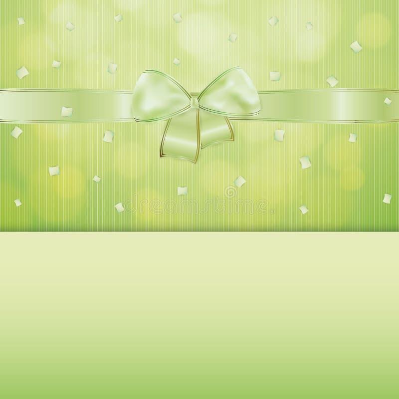 Grüner Gutschein mit Band und Konfettis vektor abbildung