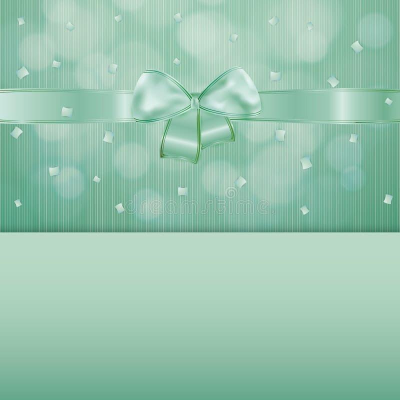 Grüner Gutschein mit Band und Konfettis lizenzfreie abbildung