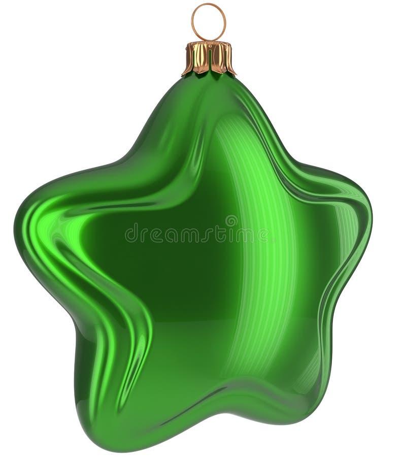 Grüner hängender Flitter Weihnachtssternförmigen fröhlichen Weihnachtsballs vektor abbildung
