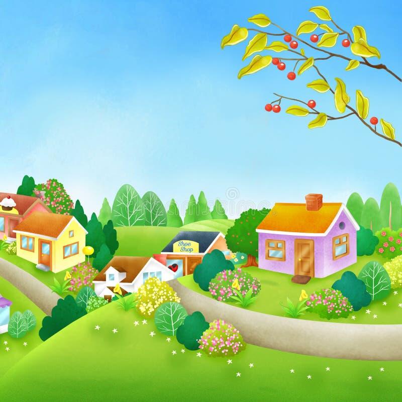 Grüner Hügel-ruhige Dorf-Digital-Illustration lizenzfreie abbildung