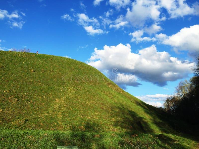 Grüner Hügel und blauer Himmel lizenzfreie stockfotos