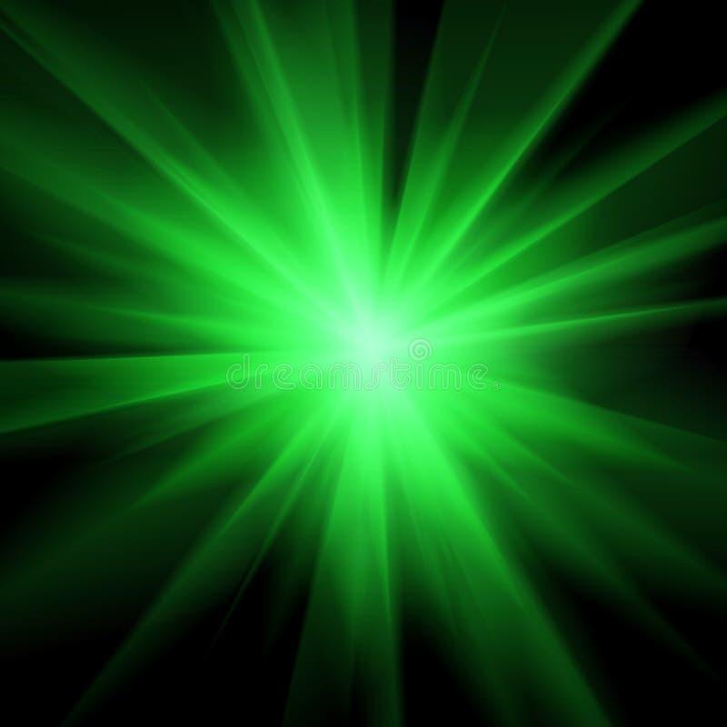 Grüner heller Lichtblitz in der Dunkelheit Springen, um einen Frisbee, unscharfen Hintergrund abzufangen Staburst-Zusammenfassung vektor abbildung