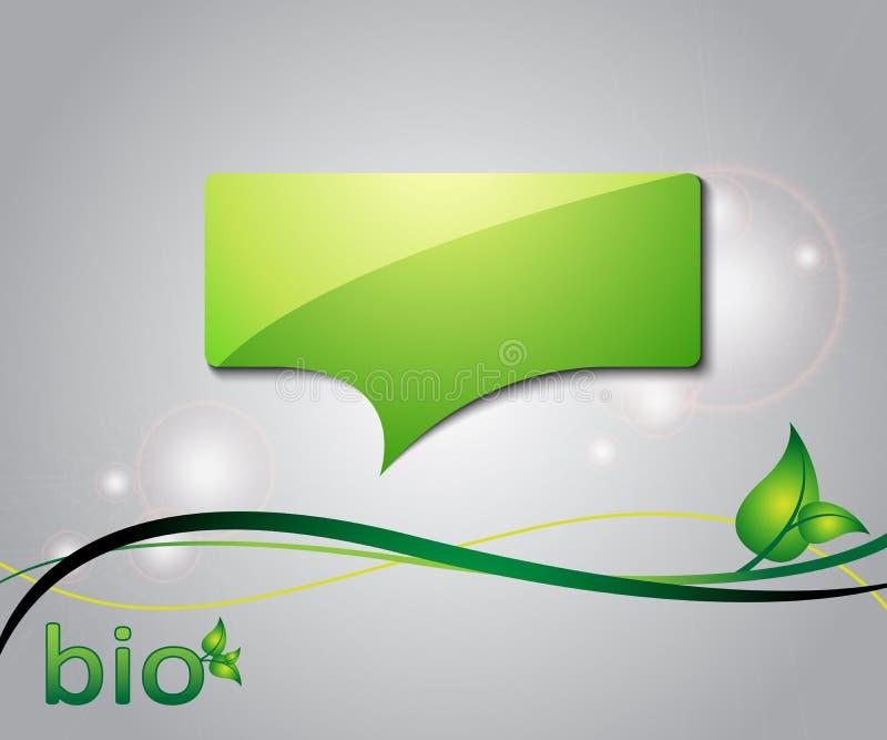 Grüner Hintergrund der Ökologie mit Spracheluftblase vektor abbildung