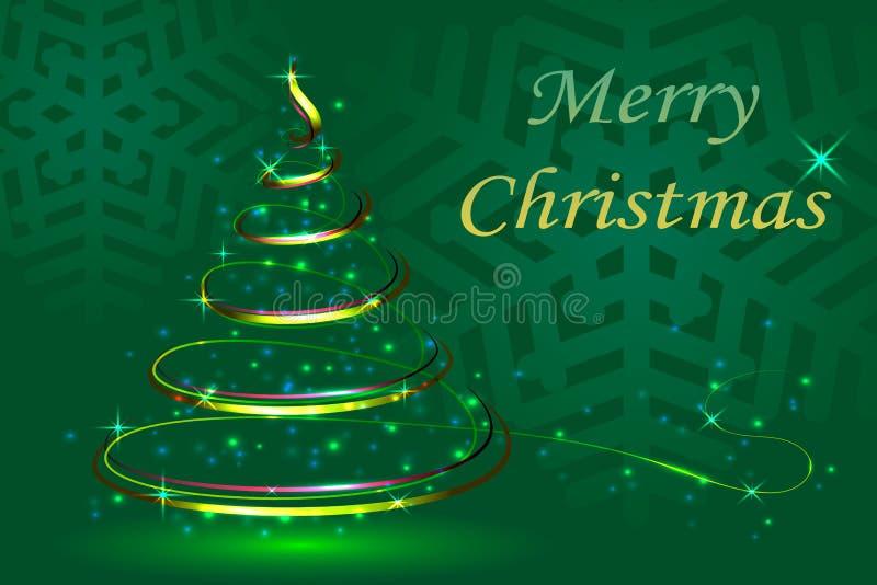 Grüner Hintergrund der Abstraktion, Weihnachtsfestlicher Tannenbaum, neues YE lizenzfreie abbildung