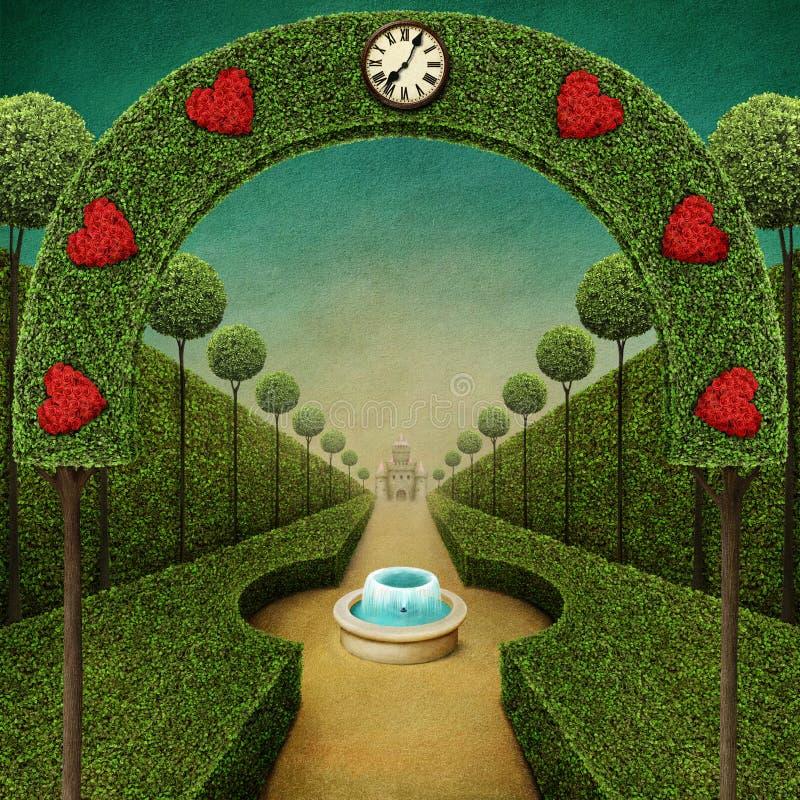 Grüner Hintergrund der Märchen stock abbildung