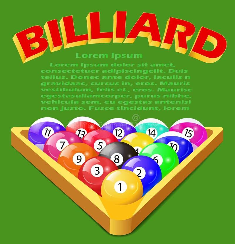 Grüner Hintergrund mit Bällen für Billard lizenzfreie abbildung