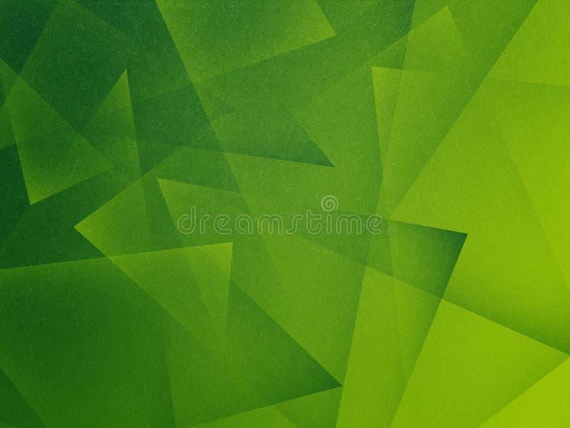 Grüner Hintergrund mit Dreieckschichten im abstrakten geometrischen Muster stock abbildung