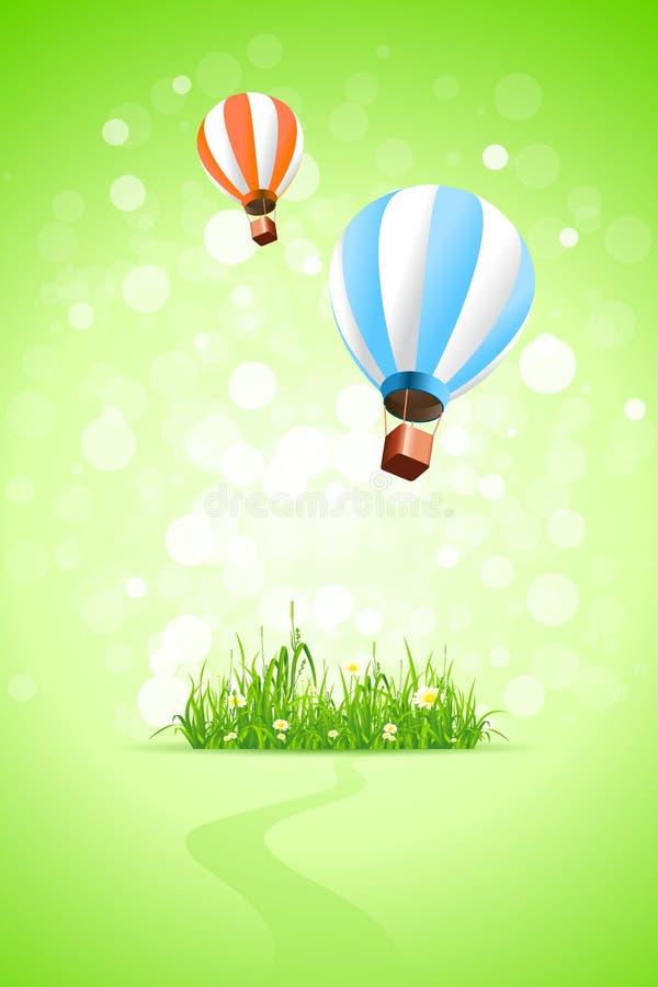Grüner Hintergrund mit Gras-und Heißluft-Ballonen vektor abbildung