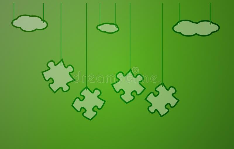 Grüner Hintergrund mit Puzzlespiel vektor abbildung