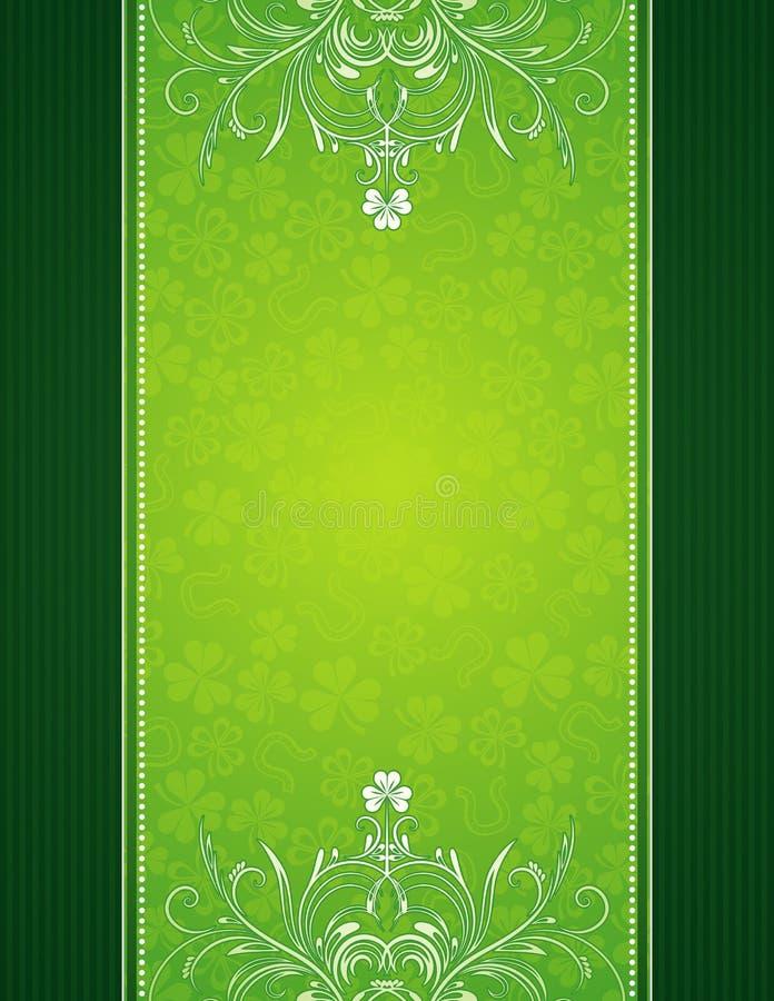 Grüner Hintergrund mit Shamrock lizenzfreie abbildung