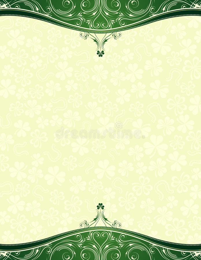 Grüner Hintergrund mit Shamrock stock abbildung