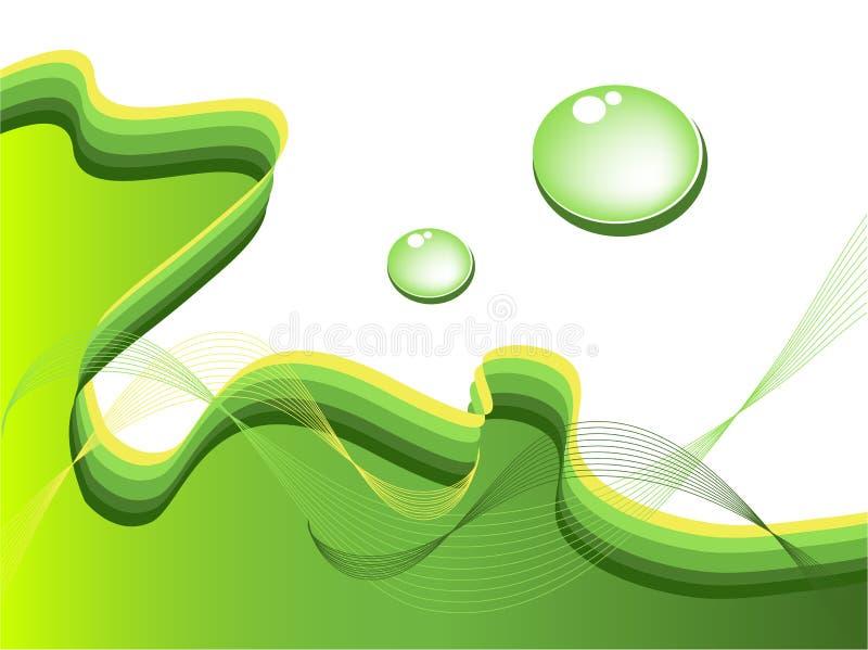 Grüner Hintergrund mit Wassertropfen, Vektor stock abbildung
