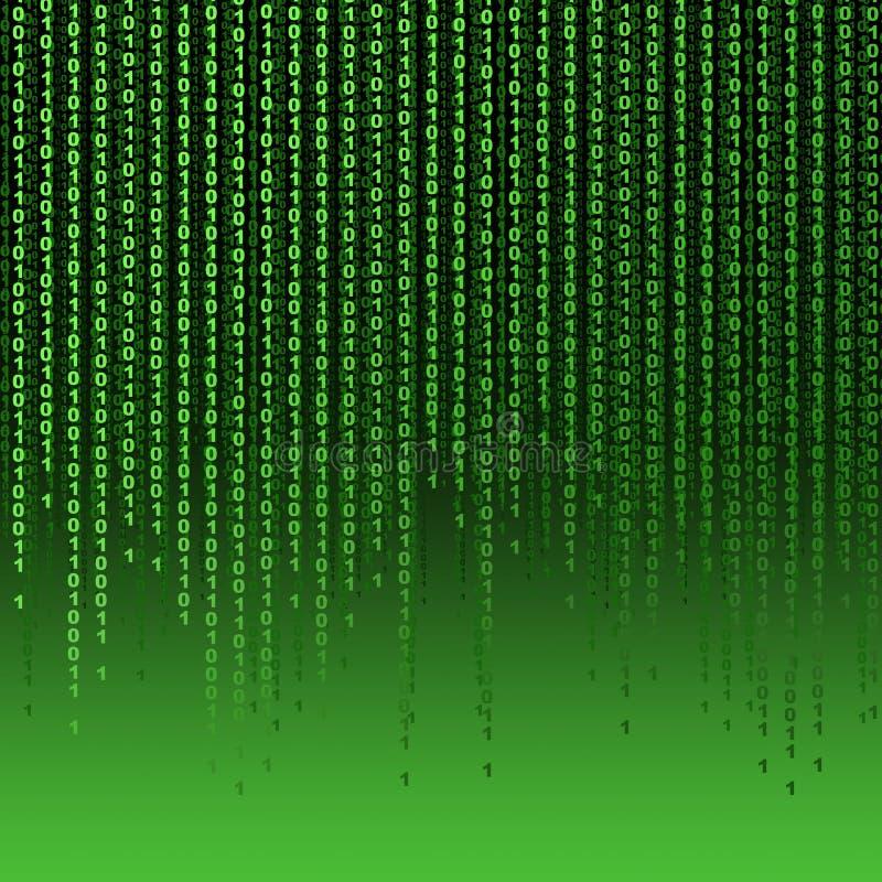 Grüner Hintergrund von einen und von null lizenzfreie abbildung