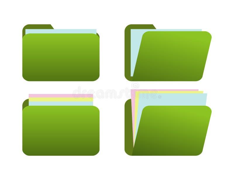 Grüner Ikonenordner mit Papier 3 vektor abbildung