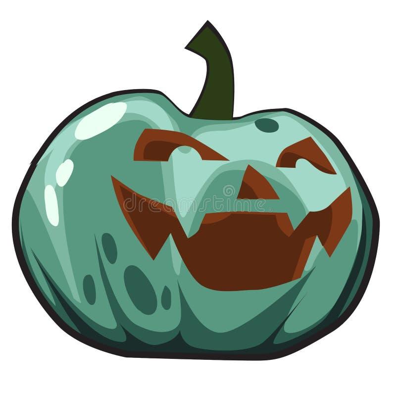 Grüner Kürbis mit geschnitzten Augen und Mund, Jack-O-Laternen Attribut des Feiertags von Halloween Skizze für Feiertag lizenzfreie abbildung