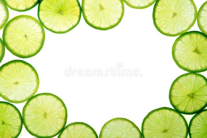 Grüner Kalk schneidet Hintergrund stockfotografie