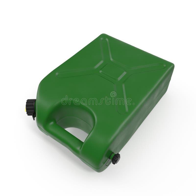 Grüner Kanister, Plastikverpackung für chemische Mischungen des Öls, Wasser und andere Flüssigkeiten Lokalisiert auf Weiß 3d stock abbildung