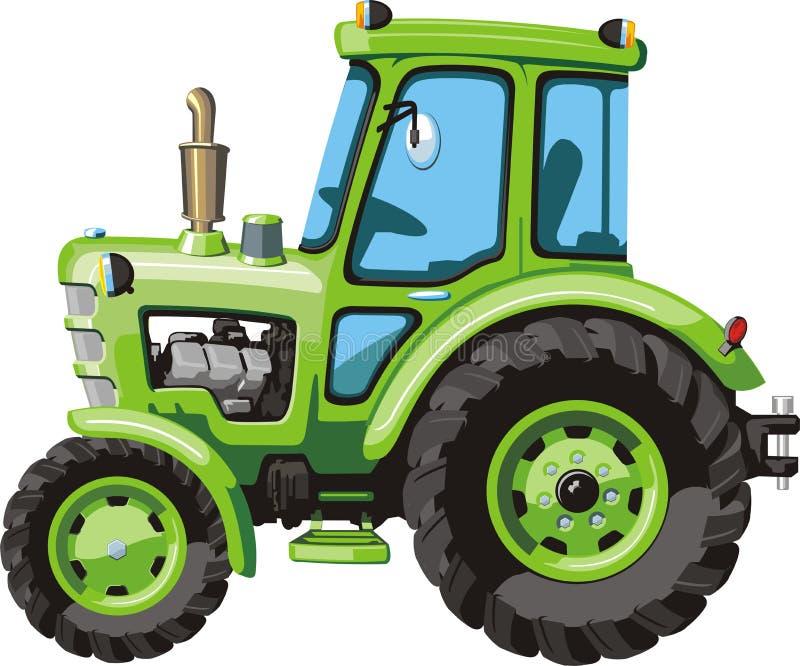 Grüner Karikaturtraktor vektor abbildung