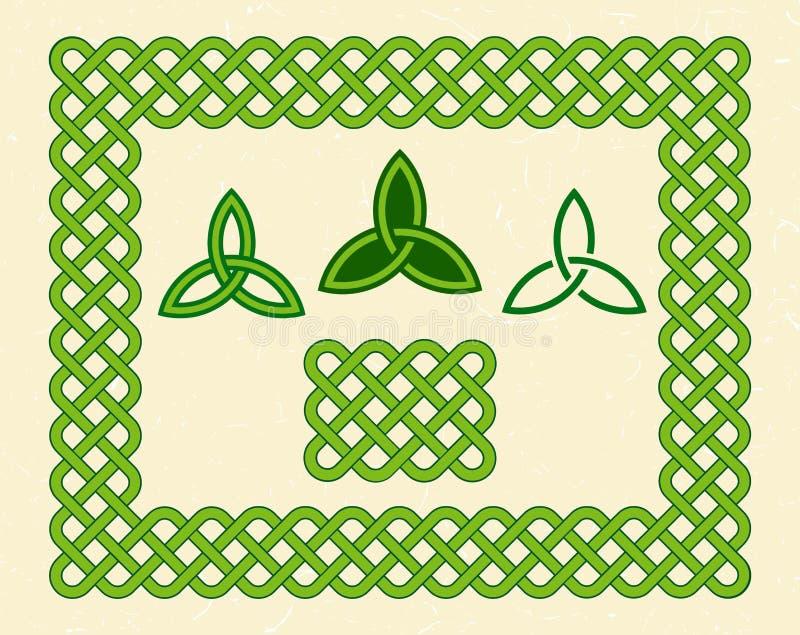 Grüner keltischer Artrahmen und -elemente lizenzfreie abbildung