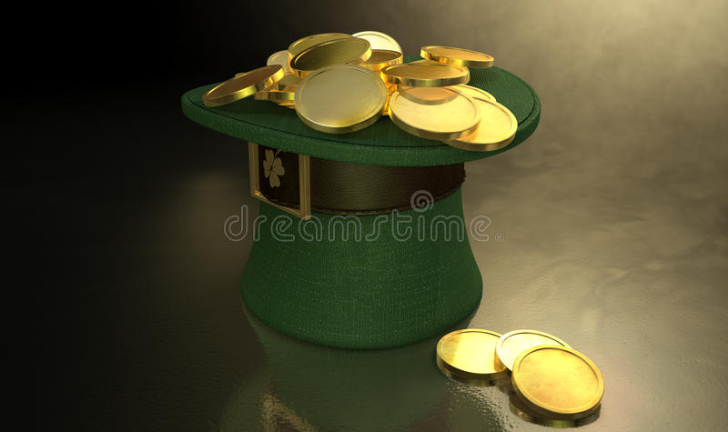 Grüner Kobold-Hut gefüllt mit Goldmünzen stock abbildung