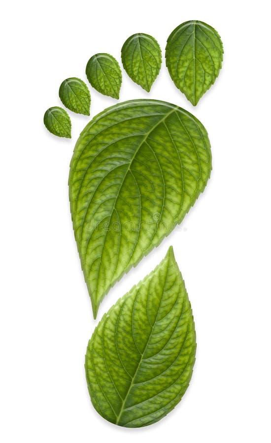 Grüner Kohlenstoff-Fuss-Druck stockfoto